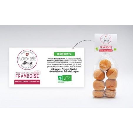 Macarons bio à la Framboise 150g sachet de 7 pieces